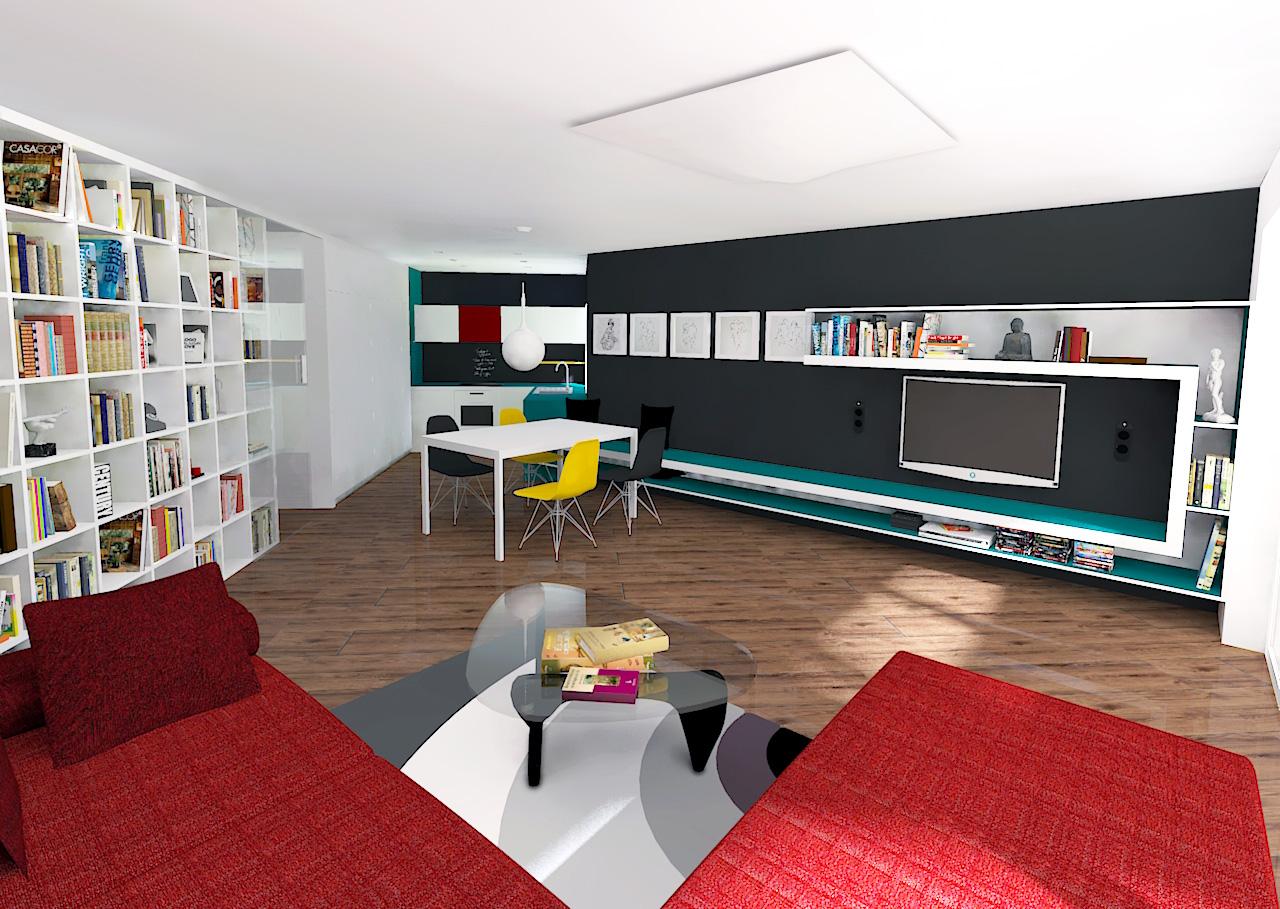 Dnevni prostor z jedilnico in kuhinjo